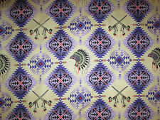 Native American Indian Headdress Peace Pipe Purple Pink Cotton Fabric BTHY