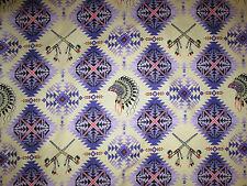 Native American Indian Headdress Peace Pipe Purple Pink Cotton Fabric BTHY
