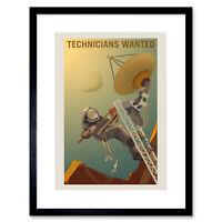 Nasa Poster Space Job Advert Technicians Framed Art Print 12x16 Inch