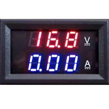 DIGITAL VOLT METER DC 100V + 10A Current AMMETER  Dual LED RED BLUE Gauge PANEL