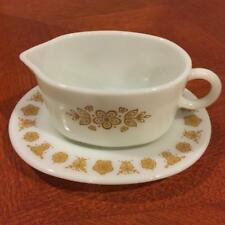Vintage Pyrex Corning Butterfly Gold Gravy Boat with Drip Plate