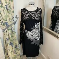 Phase Eight Size 16 grey black ruched lace wiggle party occasion dress floral VG