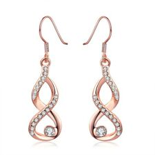 NEW ARRIVAL ROSE GOLD PLATED INFINITY CRYSTAL DANGLE DROP EARRINGS - TOP QUALITY