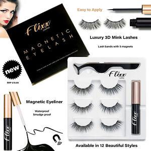 Magnetic Eyeliner Liquid & Lashes Kit - 3 Sets Mink Eyelashes Natural Long UK