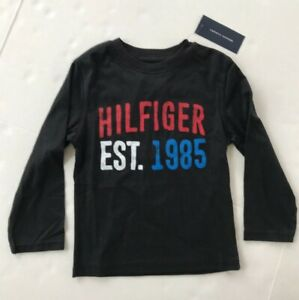 Tommy Hilfiger Long sleeve Boys T-Shirt Size 4 Black NWT 100% cotton crew neck