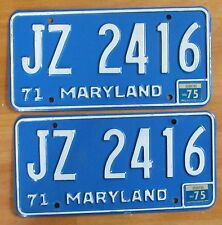 Maryland 1975 License Plate PAIR # JZ 2416