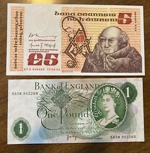 Lot of 2 Notes - 1981 IRELAND 5 POUND -  ENGLAND 1 POUND - Uncirculated