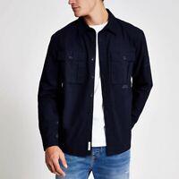 River Island Mens Navy Long Sleeves Cotton Casual Pocket Shirt Top S M L XL 2XL