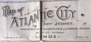Original Color 1891 Map of Atlantic City