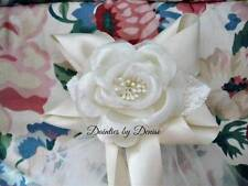 First Communion Veil Boutique Bow with Flower w/Ribbon Streamers, Ivory or white