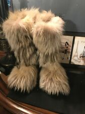 Handmade GORGEOUSE cream  FOX  NATURAL FUR  wedge   BOOTS sz us 8