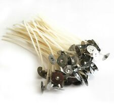20 X Wicks Quality Cotton for Candle Making Pre Waxed With Sustainers 80mm 8cm