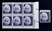 US Stamps, Scott #1285 Einstein 1966 8c Plate Block of 6 & single. XF M/NH Fresh
