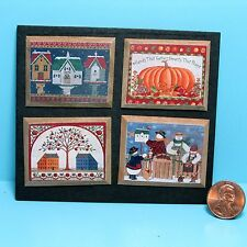 Dollhouse Miniature Set of 4 Americana Country Art Pictures ~ P680A