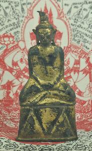 Antique Phra Ngang Ngan King Emperor Thai Gilt Gold Bronze Buddha Figure Statue