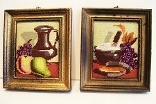 Pair Vintage Needlepoint Still Life Miniatures Completed Framed 5.5 x 6.5 inches