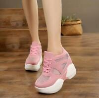 Ladies Mesh Sneakers Breathable Lace Up High Platform Wedge heel Sports shoes sz