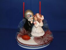 NEW ENGLAND PATRIOTS Wedding Caketopper with Kissing Bride & Groom & GoalPost