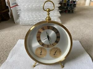 Vintage Bulova Mechanical Wind Up Alarm Clock with Hygrometer and Temperature