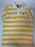 MARINA YACHTING Mens Yellow & White Striped Polo Shirt Vintage + Retro XXL 2XL