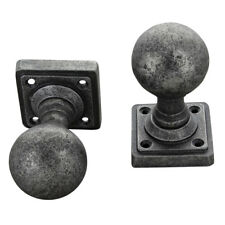 Round Pewter Mortice Door Knobs Set on Cube Rose Heavy Pewter Door Handles