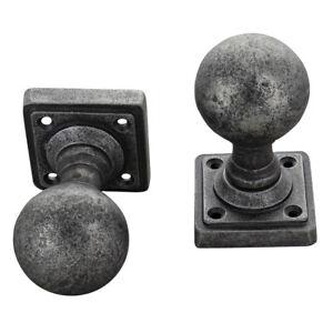 Round Pewter Mortice Door Knobs Set on Cube Rose Heavy Pewter Door Handles