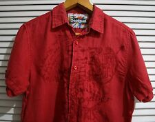 STUNNING ***** DESIGUAL MENS RED LINEN SHIRT EXCELLENT UK SIZE  M