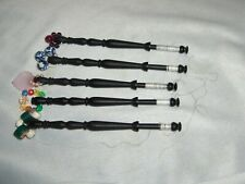 5 Vintage Wood Turned Lace Making Bobbins Decorative Beads Ebony Stain Nice