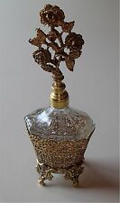 Lovely Vintage Tall Perfume Bottle Gold Filigree Globe Paper Label