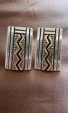 Navajo Native American 14K Gold & Sterling Silver Signed MJ Post Earrings MINT