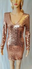 Jane Norman Rose Gold Sequin Bodycon Dress - SIZE 10 - RRP: £40