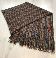 Classic Zig-zag Missoni Thick Long Scarf Wool Blend Brown Multi Colour