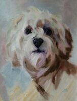 ORIGINAL OIL PAINTING DOG  ART BY UKRAINE ARTIST
