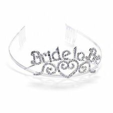 52fd149f28fe Bride to Be Tiara Wedding Bachelorette Party Crown Silver with Rhinestones
