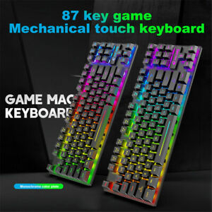 K16 87-Key LED Backlit Wired Mechanical Feel Gaming Keyboard For PC Laptop Game