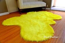 Bright Yellow Faux Fur Rug 5x6 Nursery Rug Decor Area Sheepskin Rugs Plush New