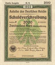 Anleihe des Deutfchen Reichs 1922 German 2,000 marks bond certificate w/ coupons