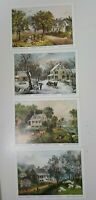 "4 Currier and Ives American Homestead Season Lithographs 5 X 7"" Unframed"