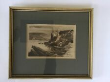 Dartmouth Castle Etching E W Charlton 1900 River Dart Boating Sailing Devon Sea
