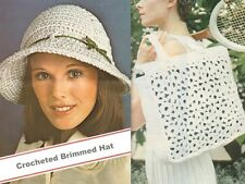 CROCHET THESE VINTAGE LADIES BRIMMED HAT & BAG - PATTERNS ONLY