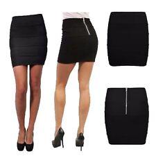 Womens Ribbed Zip Back Bandage Skirt Ladies Plain Stretchy Mini Bodycon Skirt