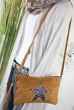 ITALY WILDLEDER IT BAG Sterne Tasche Leder CLUTCH Umhängetasche COGNAC H/M-7 IT