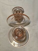 "A PaIr Of Vintage PINK Depression Glass Candle Holders 3"" Tall And 3.75""  Bottom"