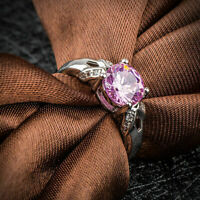 2.50Ct Round Cut Pink Sapphire Solitaire Engagement Ring 14K White Gold Finish