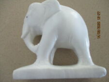Carved White Stone 12.5 cm Tall Elephant Statue on Pedestal Base
