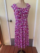London Times Pink Floral Print ROCKABILLY A Line Casual Party DRESS Stretch 10