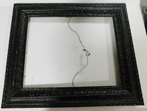 """ORNATE VINTAGE WOOD PICTURE PAINTING FRAME LARGE 27""""x23"""" Gloss Black"""