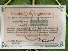 Rolex garanzia guarantee certificato cronometria COSC in italiano del 1957