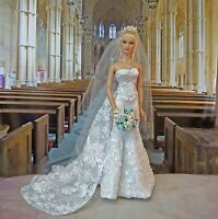"White Ribbon Lace Bridal Gown & Veil for 16"" Fashion Doll Tonner Tyler JAMIEshow"