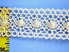 """Cotton Galloon Lace Trim Crochet Lace Trim Cluny Lace Trim 2"""" Beige 5 yds #E33"""
